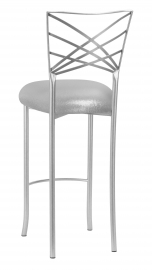 Silver Fanfare Barstool with Metallic Silver Knit Cushion