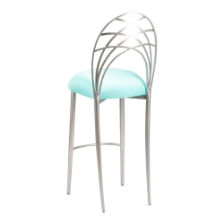 Silver Piazza Barstool with Aqua Stretch Knit Cushion