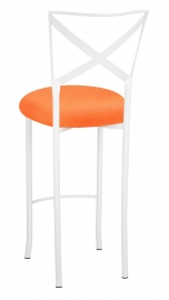 Simply X White Barstool with Tangerine Stretch Knit Cushion