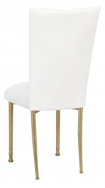 White Leatherette Chair Cover and Cushion on Gold Legs