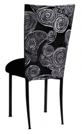 Black Swirl Velvet Chair Cover with Black Velvet Cushion on Black Legs
