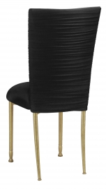 Chloe Black Stretch Knit Chair Cover and Cushion with Gold Legs