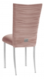 Chloe Blush Stretch Knit Chair Cover with Rhinestone Accent and Cushion on Silver Legs