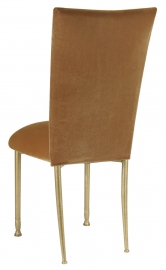 Gold Velvet Chair Cover and Cushion on Gold Legs