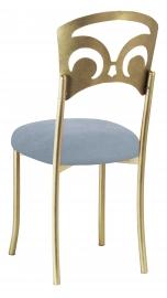 Gold Fleur de Lis with Ice Blue Suede Cushion