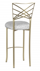 Gold Fanfare Barstool with Atomic Silver Knit Cushion