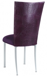 Purple Croc Chair Cover with Eggplant Velvet Cushion on Silver Legs