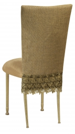 Burlap Flamboyant 3/4 Chair Cover with Camel Suede Cushion on Gold Legs