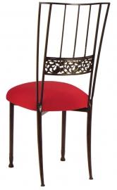 Mahogany Bella Fleur with Red Stretch Knit Cushion
