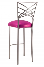 Silver Fanfare Barstool with Metallic Fuchsia Cushion