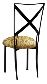 Blak. with Gold Lace over Gold Knit Cushion