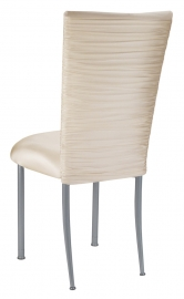 Chloe Ivory Stretch Knit Chair Cover and Cushion on Silver Legs