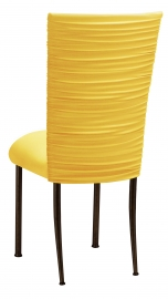 Chloe Bright Yellow Stretch Knit Chair Cover and Cushion on Brown Legs