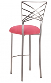 Silver Fanfare Barstool with Raspberry Suede Cushion