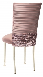 Chloe Blush Chair Cover with Bedazzle Band and Blush Stretch Knit Cushion on Ivory Cushion