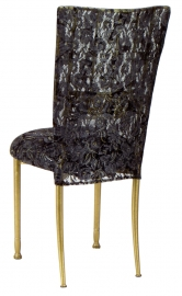 Gold Bella Fleur with Black Lace Chair Cover and Black Lace over Black Stretch Knit Cushion