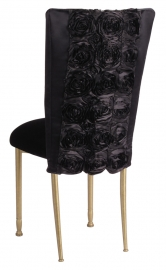 Black Rosette Chair Cover with Black Velvet Cushion on Gold Legs