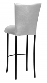 Metallic Silver Stretch Knit Barstool Cover and Cushion on Black Legs
