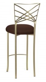 Gold Fanfare Barstool with Chocolate Stretch Knit Cushion
