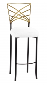 Two Tone Fanfare Barstool with White Linette Boxed Cushion