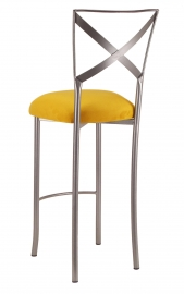 Simply X Barstool with Canary Suede Cushion