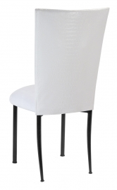 White Croc Chair Cover with White Suede Cushion on Black Legs