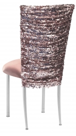 Blush Bedazzled Chair Cover and Blush Stretch Knit Cushion on Silver Legs