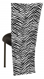 Black and White Zebra Jacket with Black Velvet Cushion on Brown Legs