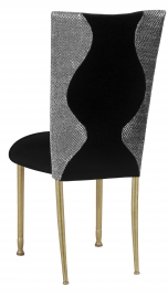Hour Glass Sequin Chair Cover with Black Velvet on Gold Legs