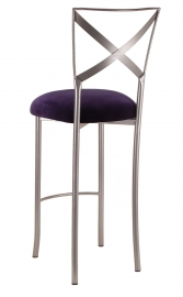 Silver Fanfare Barstool with Eggplant Velvet Cushion