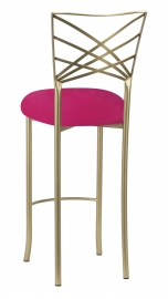 Gold Fanfare Barstool with Fuchsia Velvet Cushion
