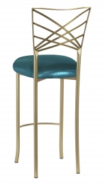 Gold Fanfare Barstool with Metallic Teal Knit Cushion