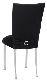 Black Suede Chair Cover with Jewel Belt, Cushion with Silver Legs