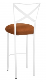 Simply X White Barstool with Copper Suede Cushion
