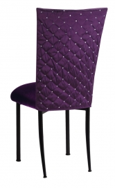 Purple Diamond Tufted Taffeta Chair Cover with Deep Purple Velvet Cushion on Black Legs