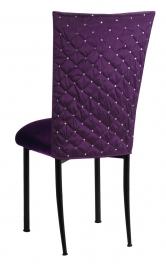 Purple Diamond Tufted Taffeta Chair Cover with Deep Purple Velvet Cushion on Black Legs