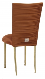 Chloe Copper Stretch Knit Chair Cover with Rhinestone Accent Band on Gold Legs