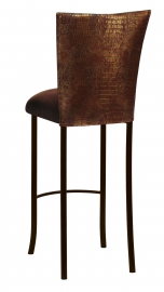 Bronze Croc Barstool Cover with Chocolate Suede Cushion on Brown Legs