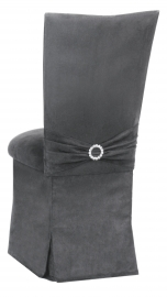 Charcoal Suede Chair Cover with Jewel Belt, Cushion and Skirt