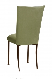 Sage Suede Chair Cover and Cushion on Brown Legs