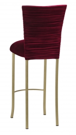 Cranberry Velvet Chloe Barstool Cover and Cushion on Gold Legs