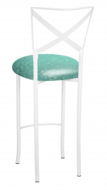 Simply X White Barstool with Mermaid Stretch Knit Cushion