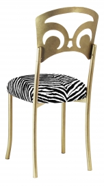 Gold Fleur de Lis with Black and White Zebra Stretch Knit Cushion