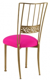 Gold Bella Fleur with Hot Pink Stretch Knit Cushion