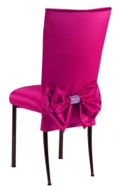 Fuchsia Satin Chair Cover with Bow Belt and Cushion on Brown Legs
