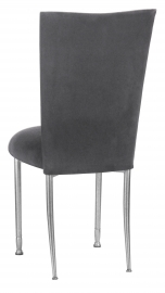Charcoal Suede Chair Cover and Cushion on Silver Legs
