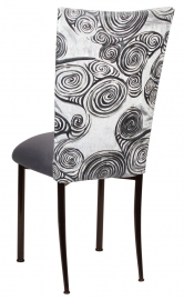 White Swirl Velvet Chair Cover with Charcoal Suede Cushion on Brown Legs