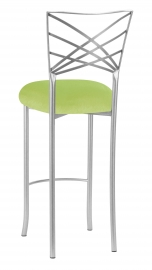 Silver Fanfare Barstool with Lime Green Velvet Cushion