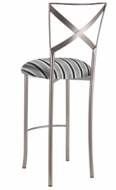 Simply X Barstool with Charcoal Stripe Cushion
