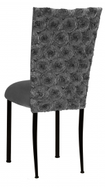 Pewter Circle Ribbon Taffeta Chair Cover with Charcoal Suede Cushion on Black Legs